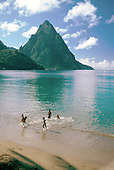 The Petit Piton, one of Saint Lucia's national landmarks, towers over the beach at Soufriere.