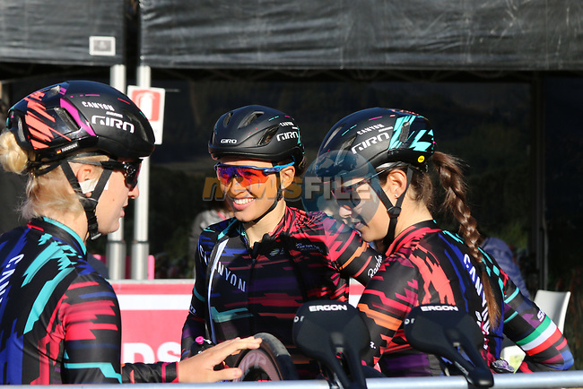 Katarzyna Niewiadoma (POL) Canyon-Sram Racing team at sign on before the Strade Bianche Women Elite 2019 running 133km from Siena to Siena, held over the white gravel roads of Tuscany, Italy. 9th March 2019.<br /> Picture: Seamus Yore | Cyclefile<br /> <br /> <br /> All photos usage must carry mandatory copyright credit (© Cyclefile | Seamus Yore)