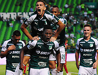 PALMIRA - COLOMBIA, 27-04-2019: Danny Rosero Valencia del Cali celebra después de anotar el segundo gol de su equipo durante partido por la fecha 18 de la Liga Águila I 2019 entre Deportivo Cali y Rionegro Águilas jugado en el estadio Deportivo Cali de la ciudad de Palmira. / Danny Rosero Valencia of Cali celebrates after scoring the second goal of his team during match for the date 16 as part Aguila League I 2019 between Deportivo Cali and Rionegro Aguilas played at Deportivo Cali stadium in Palmira city.  Photo: VizzorImage / Nelson Rios / Cont