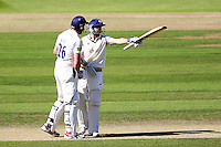 PICTURE BY ALEX WHITEHEAD/SWPIX.COM - Cricket - County Championship Div Two - Yorkshire v Glamorgan, Day 2 - Headingley, Leeds, England - 05/09/12 - Yorkshire's Andrew Gale (L) congratulates Adam Lyth (R) on his half-century.