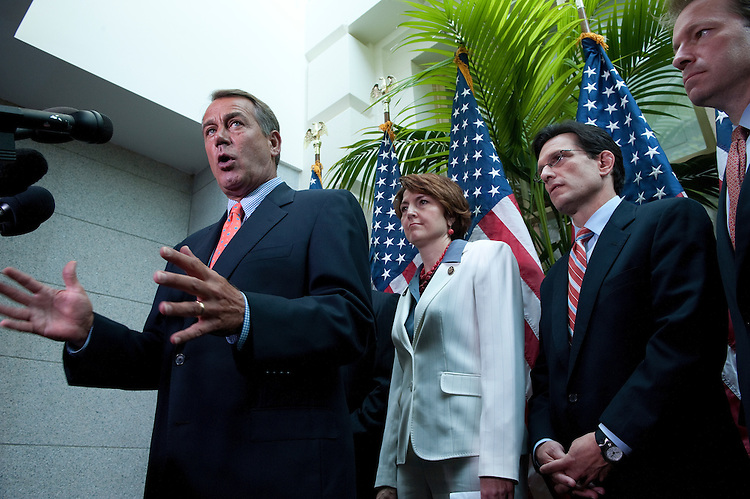 UNITED STATES - July 7:  Speaker of the House John Boehner, R-Ohio, Rep. Cathy McMorris Rodgers, R-Wash, House Majority Leader Eric Cantor, R-Va., and Peter Roskam, R-Ill., answer questions of reporters after the House Republican Conference in the U.S. Capitol. (Photo By Douglas Graham/Roll Call)