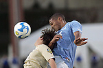 12 December 2008:  Ryan Graye (14) of North Carolina gets above Evan Brown (18) of Wake Forest for an air ball.  The Wake Forest University Demon Deacons were defeated by the University of North Carolina Tar Heels 0-1 at Pizza Hut Park in Frisco, TX in an NCAA Division I Men's College Cup semifinal game.