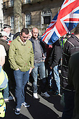 15 March 2014, London, UK. Members of the right-wing English Volunteer Force (EVF) marched from Trafalgar Square to Parliament Square to protest against the growing Islamisation of Britain. Throughout the march they clashed with anti-fascist demonstrators who where later kettled in Whitehall and some scuffled with the police in Castle Yard/Parliament Square.