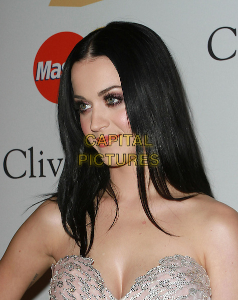 KATY PERRY .The 53rd Annual GRAMMY Awards - Salute To Icons Honoring David Geffen held At The Beverly Hilton Hotel,  Beverly Hills, California, USA, .12th February 2011..portrait headshot make-up gothic goth eyelashes false beauty strapless pink silver sequined sequin lipstick blusher eyeshadow cleavage profile .CAP/ADM/KB.©Kevan Brooks/AdMedia/Capital Pictures.