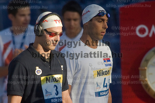 Rafael Munoz (ESP, left) and Milorad Cavic (SRB, right) inprepares for their cmpetition in 100 Men's Butterfly swimming competition during the 13th FINA Swimming World Championships held in Rome, Italy. Friday, 31. July 2009. ATTILA VOLGYI