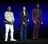 LAS VEGAS, NV - APRIL 23: (L-R) Actors Jason Mitchell, Lex Scott Davis, and Trevor Jackson onstage at the Sony Pictures Entertainment presentation at CinemaCon 2018 at The Colosseum at Caesars Palace on April 23, 2018 in Las Vegas, Nevada. (Photo by Frank Micelotta/PictureGroup)