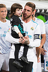 Real Madrid's Sergio Ramos with his son during La Liga match between Real Madrid and Valencia CF at Santiago Bernabeu Stadium in Madrid, Spain August 27, 2017. (ALTERPHOTOS/Borja B.Hojas)