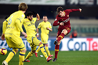 Nicolo Zaniolo of AS Roma , Mehdi Leris of AC Chievo Verona <br /> Verona 8-2-2019 Stadio Bentegodi Football Serie A 2018/2019 Chievo Verona - AS Roma <br /> Foto Image Sport / Insidefoto