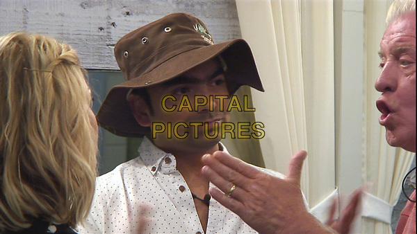 Celebrity Big Brother 2017<br /> Sarah Harding, Karthik Nagesan and Derek Acorah.<br /> *Editorial Use Only*<br /> CAP/KFS<br /> Image supplied by Capital Pictures
