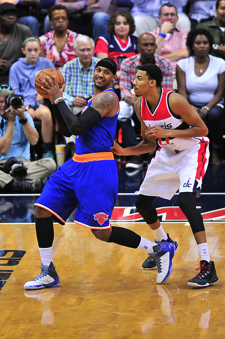 Carmelo Anthony of the Knicks is closely guarded by Wizards Otto Porter. New York defeated Washington 115-104 during a NBA preseason game at the Verizon Center in Washington, D.C. on Friday, October 9, 2015.  Alan P. Santos/DC Sports Box