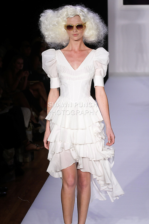 Cintia walks runway in an ecru silk & cotton voile Annabelle dress, Adele natural lace, and leather platform pump, for the bebe BLACK Spring 2012 collection fashon show, during Elle Stlye 360 Spring 2012 Fashion Week.
