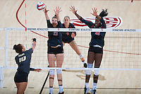 STANFORD, CA - September 9, 2016: Merete Lutz, Inky Ajanaku at Maples Pavilion. The Purdue Boilermakers defeated the Stanford Cardinal 3 - 2.
