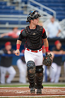 Batavia Muckdogs catcher David Gauntt (7) backs up a play during a game against the Williamsport Crosscutters on August 19, 2017 at Dwyer Stadium in Batavia, New York.  Batavia defeated Williamsport 11-1 in five innings due to rain.  (Mike Janes/Four Seam Images)