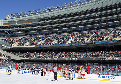 February 17, 2013:  A general view during NCAA Hockey game action between the Notre Dame Fighting Irish and the Miami Redhawks at Soldier Field in Chicago, Illinois.  Notre Dame defeated Miami 2-1.
