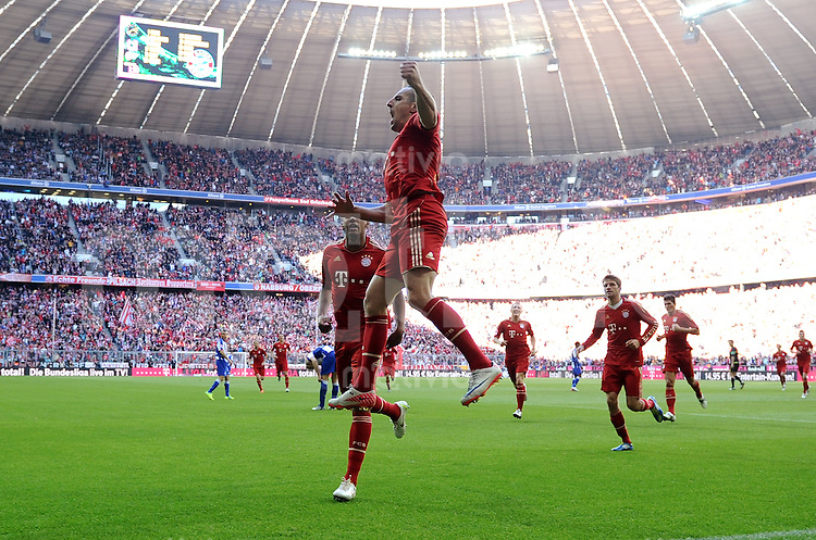 FUSSBALL   1. BUNDESLIGA  SAISON 2011/2012   9. Spieltag FC Bayern Muenchen - Hertha BSC Berlin          15.08.2011 JUBEL nach dem TOR zum 2:0 Franck Ribery (FC Bayern Muenchen)