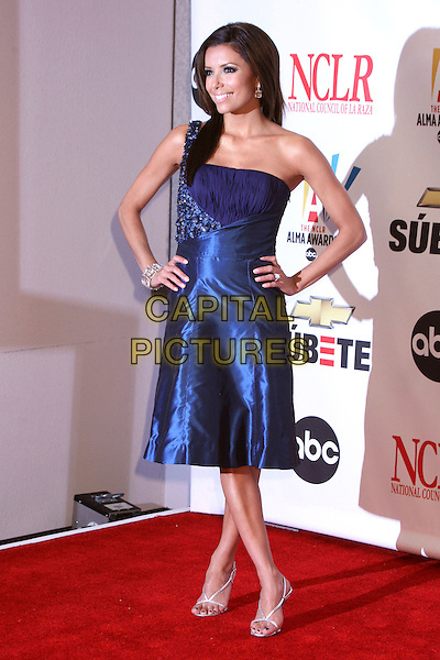 EVA LONGORIA .2007 NCLR ALMA Awards at the Pasadena Civic Center, Pasadena, California, USA..June 1st, 2007.full length blue one shoulder satin dress hands on hips .CAP/ADM/BP.©Byron Purvis/AdMedia/Capital Pictures