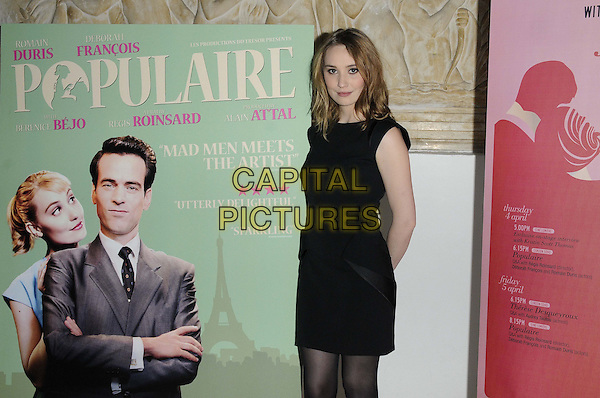 "Deborah Francois.attended the ""Populaire"" UK film screening as part of the 4th Rendezvous with French Cinema Season in London, Cine Lumiere, Queensberry Place, London, England, UK, 5th April 2013..half length black sleeveless dress tights .CAP/CAN.©Can Nguyen/Capital Pictures."
