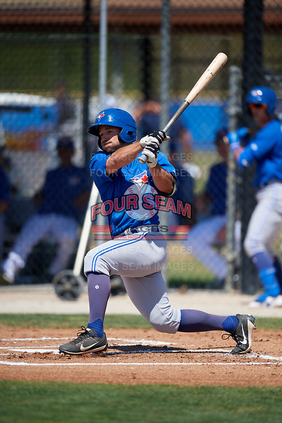 Toronto Blue Jays Nick Sinay (15) during a Minor League Spring Training game against the New York Yankees on March 18, 2018 at Englebert Complex in Dunedin, Florida.  (Mike Janes/Four Seam Images)