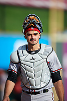Richmond Flying Squirrels catcher Aramis Garcia (14) walks to the dugout before a game against the Altoona Curve on May 15, 2018 at Peoples Natural Gas Field in Altoona, Pennsylvania.  Altoona defeated Richmond 5-1.  (Mike Janes/Four Seam Images)