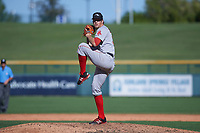 Peoria Javelinas relief pitcher Ty Buttrey (31), of the Boston Red Sox organization, delivers a pitch to the plate during an Arizona Fall League game against the Mesa Solar Sox on October 25, 2017 at Sloan Park in Mesa, Arizona. The Solar Sox defeated the Javelinas 6-3. (Zachary Lucy/Four Seam Images)
