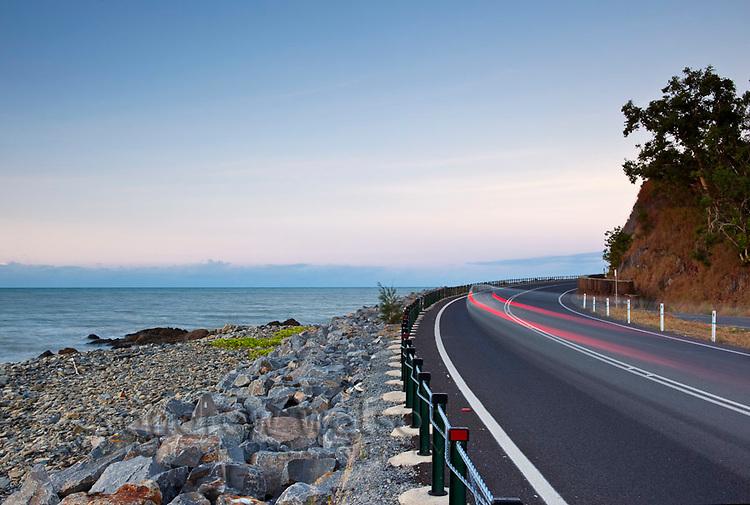 Car light trails on Captain Cook Highway between Port Douglas and Cairns, Queensland, Australia