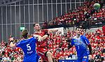 Ludwigshafens Müller / Mueller, Jerome (Nr.27) bei seinem Treffer beim Spiel des DHB Pokal Viertelfinale, Die Eulen Ludwigshafen - TBV Lemgo-Lippe.<br /> <br /> Foto © PIX-Sportfotos *** Foto ist honorarpflichtig! *** Auf Anfrage in hoeherer Qualitaet/Aufloesung. Belegexemplar erbeten. Veroeffentlichung ausschliesslich fuer journalistisch-publizistische Zwecke. For editorial use only.