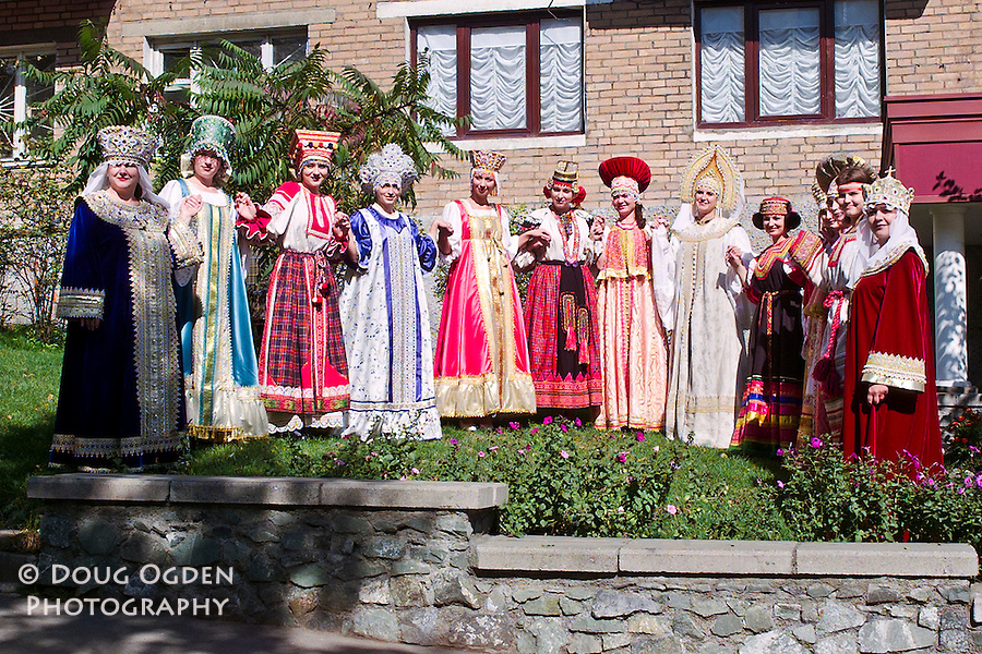 Women in beautiful traditional dresses and head pieces or crowns.  Each dress represents a different region of Russia, Vladivostok, Russia,
