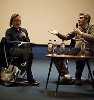 """(From L To R) Clare Longrigg & Pif.<br /> <br /> London, 25/03/2017. Today, CinemaItaliauk held the premiere of the Italian movie """"In Guerra Per Amore"""" (At War With Love) at the Genesis Cinema in London's Whitechapel (On London's 11 Best Independent Cinemas list). Special guest of the event was the Director and main actor of the movie Pif (Aka Pierfrancesco Diliberto, Italian television host and film director and actor and writer) who held a Q&A with Clare Longrigg, deputy Editor of the Guardian. After the success with """"The Mafia Kills Only in Summer"""" (2013), Pif is back with a love comedy based on true facts in which the Sicilian Director shows the agreement, made during World War II between the US Army and the Sicilian mafia, to invade and occupy Sicily without provoking any trouble, re-establishing the criminal power of """"Cosa Nostra"""" on the Italian southern island. <br /> <br /> For more information please click here: http://www.imdb.com/title/tt5263116/ & https://www.facebook.com/events/237675699972952/ & https://www.facebook.com/CinemaItaliaUk/"""