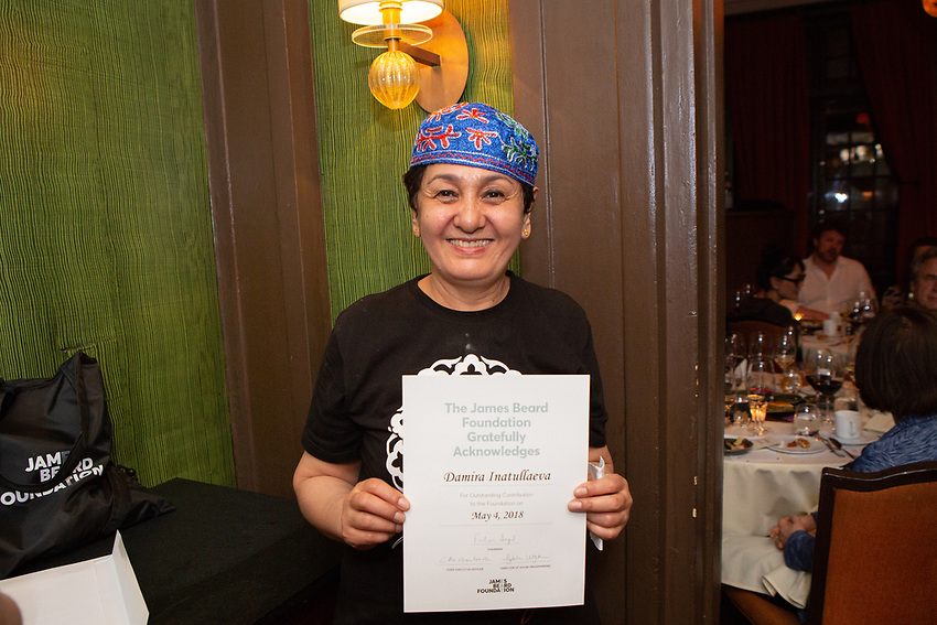 New York, NY - May 4, 2018:  The League of Kitchens Presents an Uzbek Feast by Chef Damira Inatullaeva at the James Beard House in Greenwich Village.<br /> <br /> CREDIT: Clay Williams for The James Beard Foundation.<br /> <br /> &copy; Clay Williams / http://claywilliamsphoto.com