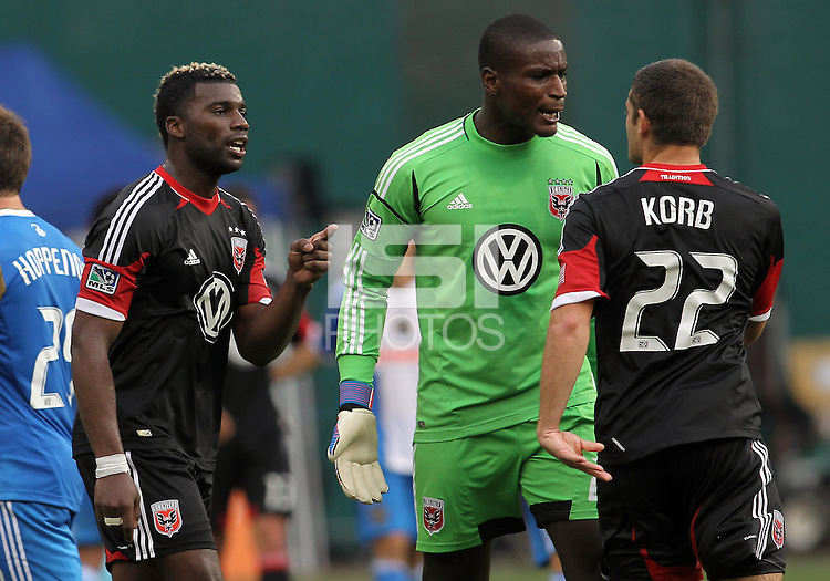 WASHINGTON, D.C. - AUGUST 19, 2012:  Brandon McDonald (4) and Bill Hamid (28) of DC United argue with Chris Kolb (22) at the end of an MLS match with the Philadelphia Union at RFK Stadium, in Washington DC, on August 19. The game ended in a 1-1 tie.