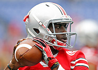 Ohio State Buckeyes quarterback J.T. Barrett (16) warms up before their game against Navy at M&T Bank Stadium in Baltimore, Maryland on August 30, 2014. (Dispatch photo by Kyle Robertson)
