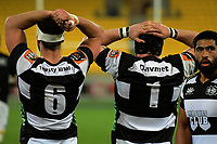 Lucas Goodin (6) and Mark Braidwood (1) reflect on a Lions try during the Mitre 10 Cup rugby union match between Wellington Lions and Hawkes Bay Magpies at Westpac Stadium, Wellington, New Zealand on Wednesday, 6 September 2017. Photo: Dave Lintott / lintottphoto.co.nz