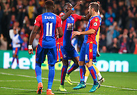 James McArthur celebrates scoring with Christian Benteke during the EPL - Premier League match between Crystal Palace and Liverpool at Selhurst Park, London, England on 29 October 2016. Photo by Steve McCarthy.