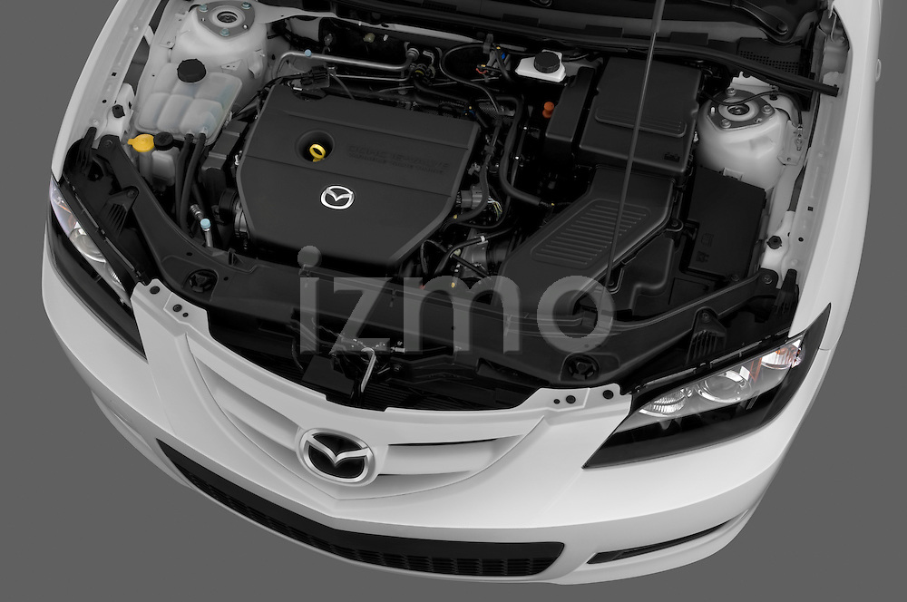 High angle engine detail of a 2009 Mazda3 5-Door Sport .