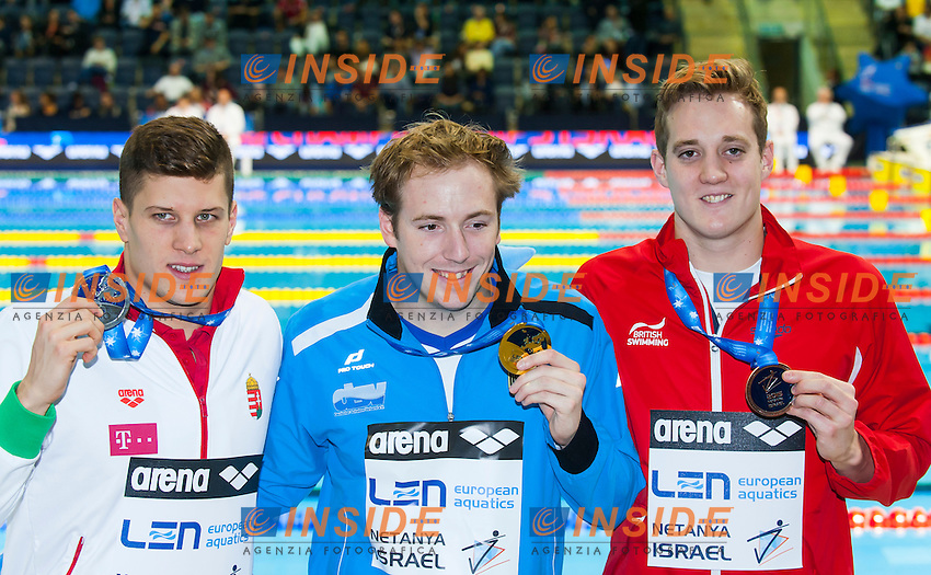 KOCH Marco GER gold medal, GYURTA Daniel HUN silver medal, WILLIS Andrew GBR bronze medal<br /> Men's 200m breaststroke final<br /> Netanya, Israel, Wingate Institute<br /> LEN European Short Course Swimming Championships  Dec. 2 - 6, 2015 Day02 Dec. 3nd<br /> Nuoto Campionati Europei di nuoto in vasca corta<br /> Photo Insidefoto