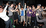Aaron J. Albano with Tommy Bracco, Ben Fankhauser, Alex Wong, Kyle Coffman, Andy Richardson, Kara Lindsay, Jeremy Jordan & Company.attending the Actors' Equity Broadway Opening Night Gypsy Robe Ceremony for Aaron J. Albano in.'Newsies - The Musical' at the Nederlander Theatre in NewYork City on 3/29/2012