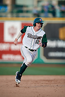 Fort Wayne TinCaps Blake Hunt (12) running the bases during a Midwest League game against the Peoria Chiefs on July 17, 2019 at Parkview Field in Fort Wayne, Indiana.  Fort Wayne defeated Peoria 6-2.  (Mike Janes/Four Seam Images)