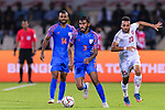 Subhasish Bose of India (2nd L) fights for the ball with Jamal Rashed Abdulrahman of Bahrain (R) during the AFC Asian Cup UAE 2019 Group A match between India (IND) and Bahrain (BHR) at Sharjah Stadium on 14 January 2019 in Sharjah, United Arab Emirates. Photo by Marcio Rodrigo Machado / Power Sport Images
