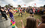 Electric Fields music festival at Drumlanrig Castle, Dumfries and Gallloway Scotland. Colonel Mustard spuring audience on to dance