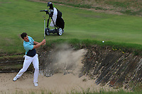 Alex Gleeson (Castle) plays out of a bunker on the 11th during Round 2 of Match Play in the AIG Irish Close Championship at the European Club, Brits Bay, Wicklow, Ireland on Monday 6th August 2018.<br /> Picture: Thos Caffrey / Golffile