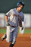 Greeneville Astros designated hitter Chase Davidson #40 in a homerun trot during a game against the Johnson City Cardinals at Howard Johnson Field on July 13, 2011 in Johnson City, Tennessee.  Greeneville won the game 7-4.   (Tony Farlow/Four Seam Images)