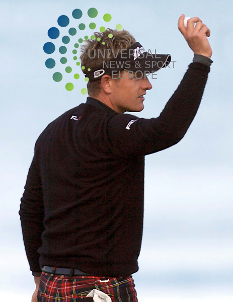 The Alfred Dunhill Golf Championship 2009 at The Old Course, St Andrews, Kingsbarns and Carnoustie.. . Overnight leader Luke Donald at 18 takes the lead and you can see what it means to him    during the Gale-Force Delayed Third  Round of the Alfred Dunhill Golf Championship...Picture by Mark Davison/ Universal News & Sport