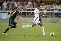 SAN JOSE,  - SEPTEMBER 1: Tommy Thompson #22 of the San Jose Earthquakes and Nani  #17 of the Orlando City SC during a game between Orlando City SC and San Jose Earthquakes at Avaya Stadium on September 1, 2019 in San Jose, .