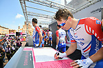 Arnaud Demare (FRA) Groupama-FDJ at sign on before Stage 11 of the 2019 Giro d'Italia, running 221km from Carpi to Novi Ligure, Italy. 22nd May 2019<br /> Picture: Massimo Paolone/LaPresse | Cyclefile<br /> <br /> All photos usage must carry mandatory copyright credit (© Cyclefile | Massimo Paolone/LaPresse)