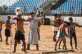 Brazilian, Mongolian and Phillippino indigenous archers practice during the International Indigenous Games, in the city of Palmas, Tocantins State, Brazil. Photo © Sue Cunningham, pictures@scphotographic.com 28th October 2015