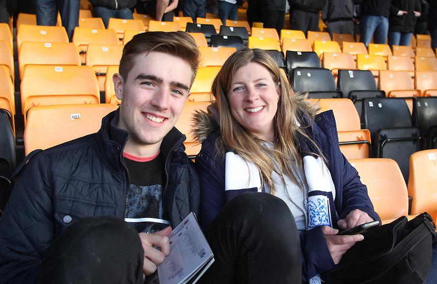Preston North End's Fans<br /> <br /> Photographer Mick Walker/CameraSport<br /> <br /> Football - The Football League- Sky Bet League One - Port Vale v Preston North End - Friday 17th  April  2015 - Vale Park - Burslem<br /> <br /> &not;&copy; CameraSport - 43 Linden Ave. Countesthorpe. Leicester. England. LE8 5PG - Tel: +44 (0) 116 277 4147 - admin@camerasport.com - www.camerasport.com