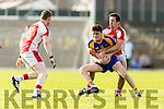 Sean O'Shea Kenmare in action against Aidan O'Mahony Rathmore in the Senior County Football Semi Final in Fitzgerald Stadium on Sunday.