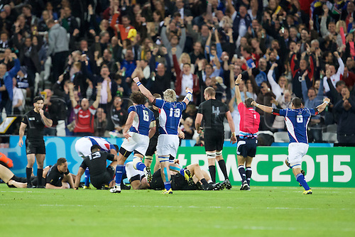 24.09.2015. Olympic Stadium, London, England. Rugby World Cup. New Zealand versus Namibia. Namibia score a try.