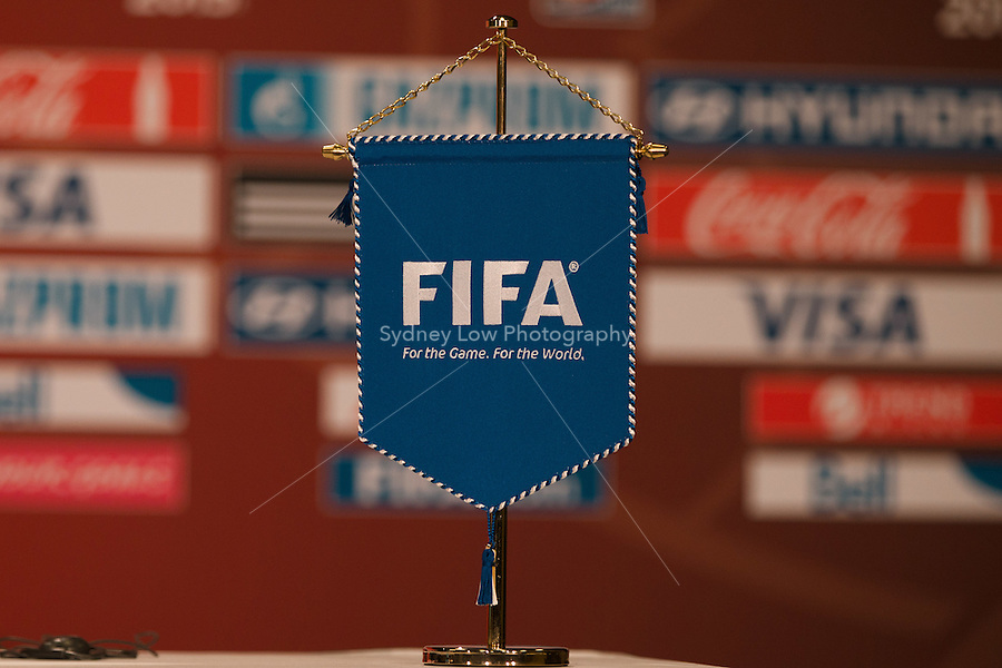 June 7, 2015: The FIFA flag at a press conference ahead of a Group C match at the FIFA Women's World Cup Canada 2015 between Cameroon and Ecuador at BC Place Stadium on 8 June 2015 in Vancouver, Canada. Sydney Low/AsteriskImages