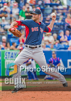 8 March 2015: Boston Red Sox pitcher Tommy Layne on the mound during Spring Training action against the New York Mets at Tradition Field in Port St. Lucie, Florida. The Mets fell to the Red Sox 6-3 in Grapefruit League play. Mandatory Credit: Ed Wolfstein Photo *** RAW (NEF) Image File Available ***